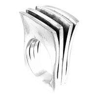 BIG Vintage 1970s Pekka Piekainen Finland Sterling Silver Modernist RING Size 9 US