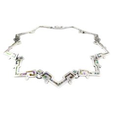 STRIKING Vintage 1960s 70s VJC for Miguel Mexico Handmade Sterling & Abalone Geometric NECKLACE