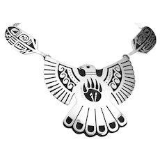 BIG Vintage 1960s 70s Weaver Selina Hopi Arizona Handmade Sterling Eagle & Feathers NECKLACE