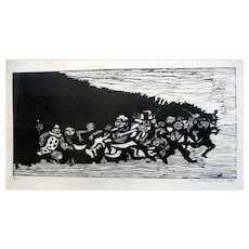 RARE Vintage 1950s SIGNED Michael Train USA Original Woodcut Numbered 36/200 Abstract Modernist Figures