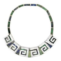 STRIKING Vintage 1950s Los Castillo Taxco Handmade Sterling & Mosaico Azteca Mexican Modernist NECKLACE