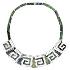 STRIKING Vintage 1950s Los Castillo Taxco Handmade Sterling & Mosaico Azteca Mexican Modernist NECKLACE