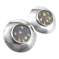 BIG Vintage 1980s Handmade Sterling Silver & Anodized Titanium Geometric Modernist EARRINGS