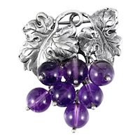GORGEOUS Vintage 1950s Signed Hand Wrought Chased Sterling Grape Leaves & Amethyst 'Grapes' Brooch PIN