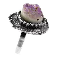 SUPERB Vintage 1970s Handmade Sterling Silver & Amethyst Druzy Brutalist Modernist RING Adjustable Size 9 presently