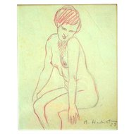 ORIGINAL Drawing on Paper Dated 1928 SIGNED A. Hubert SEATED Female NUDE Germany
