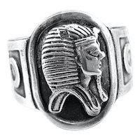 BIG Vintage 1920s 30s Egyptian Revival Handmade 900 Silver Pharaoh Ankh RING - Adjustable 9.5-10 US