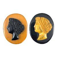 PAIR Vintage 1930s Hand Carved Bakelite Woman in Profile Cameo Brooch PINS