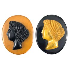 PAIR Vintage 1930s Hand Carved Bakelite Woman in Profile Cameo Brooch PINS