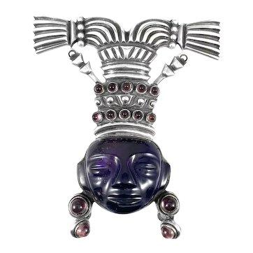 RARE 1940s Los Castillo Taxco Margot Design Handmade Sterling & Amethyst Aztec Chieftain FUR CLIP