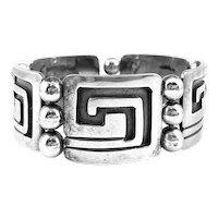 CLASSIC 1960s 70s MIGUEL Garcia Martinez Taxco Handmade Sterling Silver Geometric BRACELET