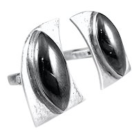 BIG 1950s 60s Handmade Sterling Silver & Hematite Modernist Penguin CUFFLINKS