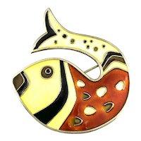 DAVID ANDERSEN Norway 1950s 60s Gilt Sterling & Enamel Modernist Fish Brooch PIN