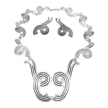 LOS CASTILLO Margot Design 1940s 50s Sterling Silver Incised Lines Swirl Design Necklace & Earrings SET
