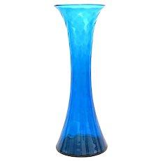 """BLENKO 1960s Myers Design 6928 Handblown Blue Glass VASE - 20.5"""" Tall"""
