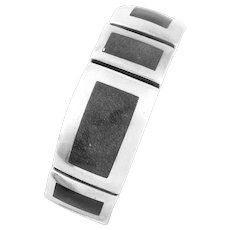 RARE 1950s Felipe Martinez Piedra Y Plata Taxco Mexico Handmade Sterling Silver & Obsidian Geometric Modernist BRACELET