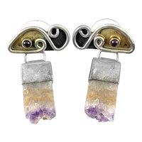 BIG 1960s 70s Handmade Mixed Metals Sterling Gold Amethyst Druzy & Garnet Modernist Pierced EARRINGS
