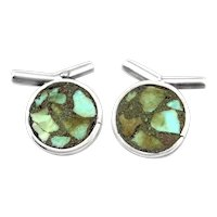 Vintage 1950s Taxco Handmade 980 Silver & Turquoise Inlay Modernist CUFFLINKS