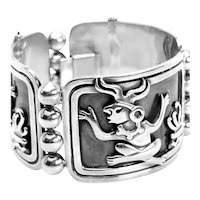 SUPERB 1960s 70s MIGUEL Garcia Martinez Taxco Handmade Sterling Silver Mexican Cuff BRACELET