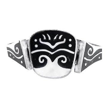 SUPERB 1950s Los Castillo Onix Negro Handmade Sterling & Onyx Inlay BRACELET