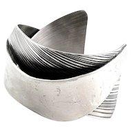 SUPERB Vintage 1940s Francisco REBAJES NYC Handmade Sterling Silver Biomorphic Modernist Cuff BRACELET