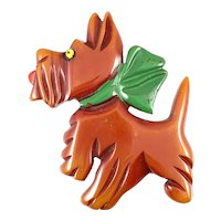 HUGE 1930s Bakelite SCOTTIE DOG Carved & Painted Handmade Brooch PIN