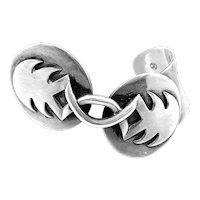 BIG Vintage 1940s 50s AMERICRAFT NYC Signed Handmade Sterling Silver Modernist Cuff BRACELET