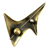 HUGE Superb 1940s Art Smith Handmade Bronze Modernist Brooch PIN