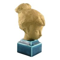 RARE 1960s Johannes Hedegaard Royal Copenhagen Denmark Ceramic Bust of a Young Woman