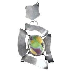 HUGE Rare 1950s Johannan Peter Ein Hod Israel Handmade Sterling Silver & Ceramic Modernist Brooch PIN