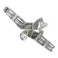 MAGNIFICENT Vintage 1930s SIGNED Mexico Handmade Sterling Quetzalcoatl Aztec Serpent BRACELET