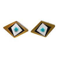 BIG 1950s 60s Tono Taxco Handmade Mixed Metals Sterling Geometric Mexican Modernist CUFFLINKS