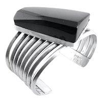 HUGE 1980s Signed MEXICO Handmade Sterling Silver & Obsidian Modernist Cuff BRACELET