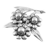 "HUGE 1930s 40s Mexico Art Deco Handmade Sterling Silver FLOWERS Design Brooch PIN - 5"" by 4.5""!"
