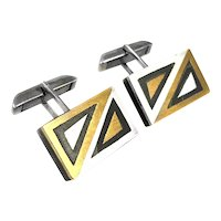BIG 1950s 60s Tono Taxco Mixed Metal Sterling Geometric Mexican Modernist CUFFLINKS