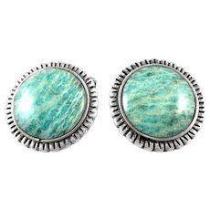 BIG 1960s 70s Tono Taxco Handmade Sterling Silver & Amazonite Mexican Modernist CUFFLINKS