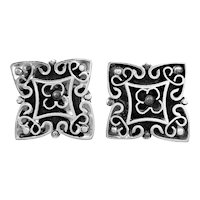 BIG 1960s 70s Tono Taxco Mexico Handmade Sterling Silver Ornate Design CUFFLINKS