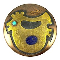 Vintage 1960s 70s Chile Handmade Mixed Metals Copper Brass Modernist BIRD Design BOX