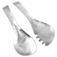RARE 1950s Hilda Kraus One of a Kind Handmade Pewter Sculptural Modernist Salad Server SET