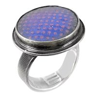 BIG 1980s 90s Handmade Sterling Silver & Dichroic Art Glass Modernist RING Size 10 US Adjustable