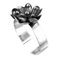 BIG 1970s Peter Von Post Sweden Handmade Sterling Silver Modernist Flower Cuff BRACELET