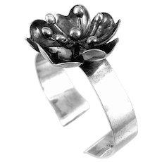 BIG 1970s Peter Von Post Sweden Handmade Sterling Silver Modernist Flower Cuff BRACELET