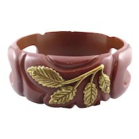 LOVELY 1930s Carved Bakelite with Applied Goldtone Leaves Decoration Bangle BRACELET