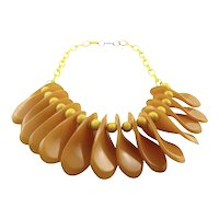BIG 1930s Art Deco Geometric Handmade Bakelite Moderne Fan Blade Design NECKLACE