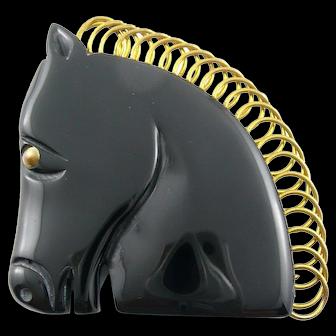 BIG Vintage 1930s ART DECO Handmade Carved Black Bakelite & Brass Trim HORSE HEAD Design Brooch PIN