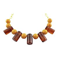 BIG 1930s Art Deco Geometric Moderne 2 Color Bakelite & Celluloid NECKLACE