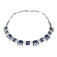 STRIKING 1980s Tono Taxco Handmade Sterling & Azurite Inlay Mexican Modernist NECKLACE