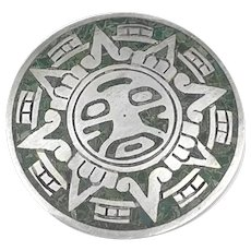 BIG Vintage 1950s Enrique LEDESMA Taxco Sterling & Stone Mexican pre Columbian Sun God Brooch PIN