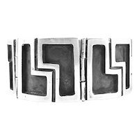 BIG Bold 1940s Los Castillo Taxco Handmade Sterling Silver Mexican Modernist BRACELET