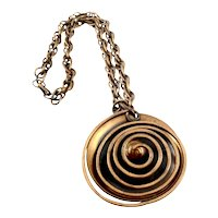 BIG 1950s Francisco REBAJES NYC Handmade Copper Geometric Modernist SPIRAL Pendant NECKLACE